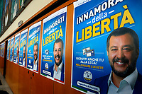 Posters with Matteo Salvini<br /> Rome February 16th 2020. Convention 'Salvini meets Rome'.<br /> Foto Samantha Zucchi Insidefoto