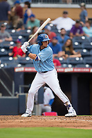Willy Adames (27) of the Durham Bulls at bat against the Buffalo Bisons at Durham Bulls Athletic Park on April 30, 2017 in Durham, North Carolina.  The Bisons defeated the Bulls 6-1.  (Brian Westerholt/Four Seam Images)