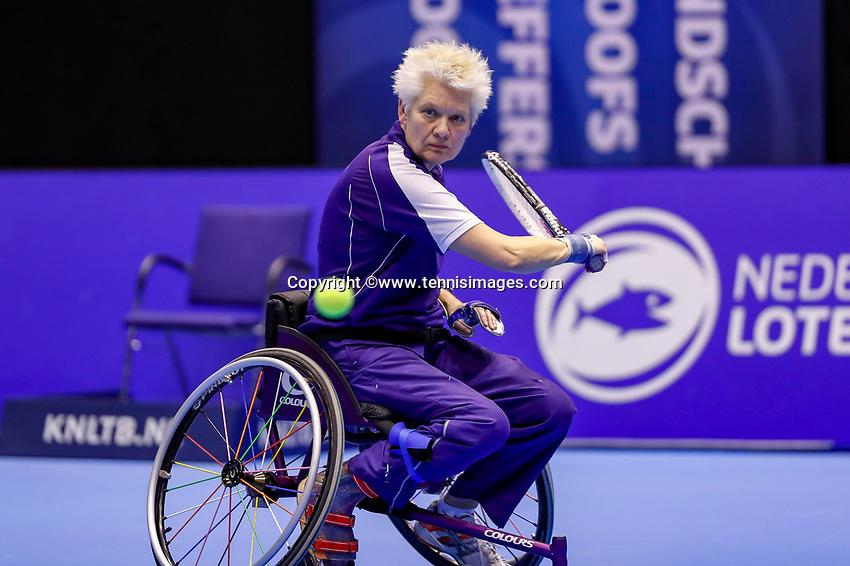 Rotterdam, Netherlands, December 15, 2017, Topsportcentrum, Ned. Loterij NK Tennis, Semi final wheelchair doubles woman, Djoke van Marum (NED) <br /> Photo: Tennisimages/Henk Koster
