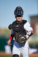 Lancaster JetHawks catcher Austin Bernard (10) during a California League game against the Lake Elsinore Storm on April 10, 2019 at The Hangar in Lancaster, California. Lake Elsinore defeated Lancaster 10-0 in the first game of a doubleheader. (Zachary Lucy/Four Seam Images)