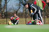 SWANSEA, WALES - FEBRUARY 17: Ashley Williams of Swansea City  rests during training session at the Fairwood training ground on February 17, 2015 in Swansea, Wales.  (Photo by Athena Pictures )