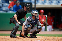 Lakeland Flying Tigers catcher Arvicent Perez (45) awaits the pitch in front of home plate umpire Tyler Jones during the first game of a doubleheader against the Clearwater Threshers on June 14, 2017 at Spectrum Field in Clearwater, Florida.  Lakeland defeated Clearwater 5-1.  (Mike Janes/Four Seam Images)