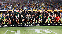 25th September 2021; Townsville, Gold Coast, Australia;  The All Blacks pose for a team photo with the Freedom Cup. All Blacks versus Springboks. The Rugby Championship. 100th Rugby Union test match between New Zealand and South Africa.