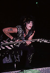 Nikki Sixx of Motley Crue at Hartford Civic Center Oct 1985.
