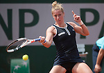 May 28,2016:   Pauline Parmentier (FRA) loses to Timea Bacsinszky (SUI) 6-4, 6-2, at  Roland Garros being played at Stade Roland Garros in Paris, France.  ©Leslie Billman/Tennisclix