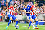 Jamie Vardy (2nd from left) of Leicester City fights for the ball with Juan Francisco Torres Belen, Juanfran (l), of Atletico de Madrid during their 2016-17 UEFA Champions League Quarter-Finals 1st leg match between Atletico de Madrid and Leicester City at the Estadio Vicente Calderon on 12 April 2017 in Madrid, Spain. Photo by Diego Gonzalez Souto / Power Sport Images