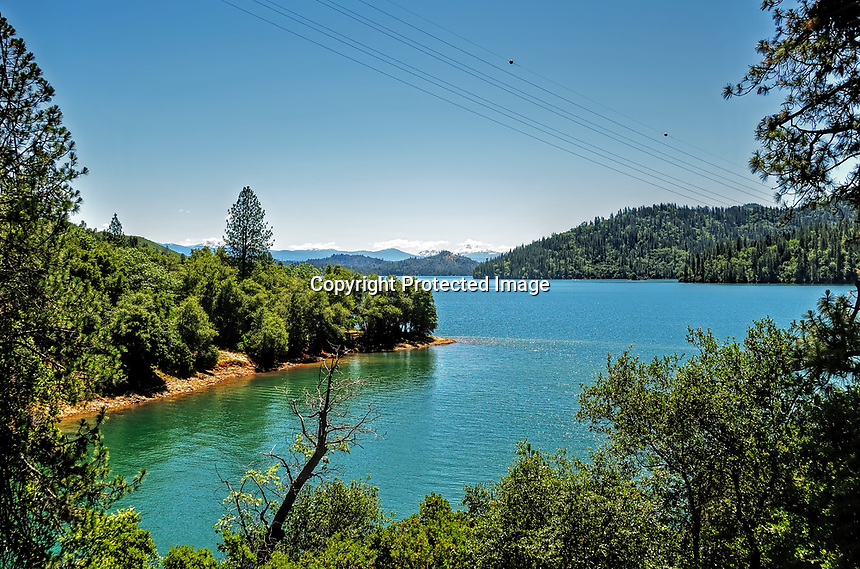 A full Shasta Lake in the early summer, Northern California.