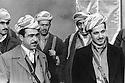 Iraq 1974 <br /> The resumption of hostilities, left, Idris Barzani and right, Masoud Barzani, sons of Mustafa Barzani, with their peshmergas   <br /> Irak 1974 <br /> La reprise de la lutte armée, a gauche Idris Barzani et a droite Masoud Barzani, fils de Mustafa Barzani avec leurs peshmergas