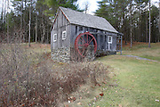 Grist Mill Museum during the autumn months. Located in Rockingham, Vermont USA which is part of New England.