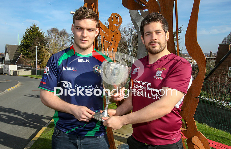 Monday 25th February 2019 | Towns Cup 2019<br /> <br /> Michael Treanor representing Clogher Valley RFC and Ryan Cathcart representing Enniskillen RFC at the River Rock Ulster Towns Cup Semi-Final draw which was held at Kingspan Stadium today. Photo by John Dickson / DICKSONDIGITAL