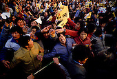 """Inchon, South Korea<br /> December 8 1987<br /> <br /> Massive crowds come to see Kim Dea-jong, the opposition leader to the ruling party campaigning during the South Korean presidential elections. <br /> <br /> Kim Dae-jung (3 December 1925 to 18 August 2009) was President of South Korea from 1998 to 2003, and the 2000 Nobel Peace Prize recipient. As of this date Kim is the first and only Nobel laureate to hail from Korea. A Roman Catholic since 1957, he has been called the """"Nelson Mandela of Asia"""" for his long-standing opposition to authoritarian rule."""