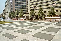 Washington D.C. : Western Plaza, between 13th & 14th on Pennsylvania Ave.  Architect Robert Venturi. Photo '91.