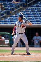 Fort Myers Miracle catcher Taylor Grzelakowski (22) at bat during a game against the Clearwater Threshers on April 25, 2018 at Spectrum Field in Clearwater, Florida.  Clearwater defeated Fort Myers 9-5.  (Mike Janes/Four Seam Images)