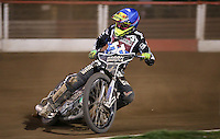 Lewis Bridger of Lakeside Hammers - Lakeside Hammers vs Leicester Lions, Elite League Speedway at the Arena Essex Raceway, Pufleet - 04/04/14 - MANDATORY CREDIT: Rob Newell/TGSPHOTO - Self billing applies where appropriate - 0845 094 6026 - contact@tgsphoto.co.uk - NO UNPAID USE