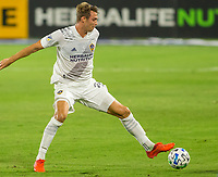 CARSON, CA - OCTOBER 14: Nicholas DePuy #20 of the Los Angeles Galaxy moves with the ball during a game between San Jose Earthquakes and Los Angeles Galaxy at Dignity Heath Sports Park on October 14, 2020 in Carson, California.