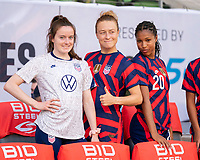 AUSTIN, TX - JUNE 16: Rose Lavelle #16, Emily Sonnett #14 and Margaret Purce #20 of the USWNT pose for a photo before a game between Nigeria and USWNT at Q2 Stadium on June 16, 2021 in Austin, Texas.