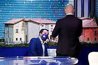 The secretary of Lega Nord party Matteo Salvini, is been taken a picture in front of a Christmas nativity scene during the talk show 'Porta a Porta'. <br /> Rome (Italy), December 22nd 2020<br /> Photo Samantha Zucchi Insidefoto