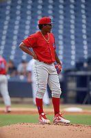 Clearwater Threshers starting pitcher Sixto Sanchez (45) on the mound during a game against the Tampa Tarpons on April 22, 2018 at George M. Steinbrenner Field in Tampa, Florida.  Clearwater defeated Tampa 2-1 (Mike Janes/Four Seam Images)