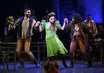 "Timothy Hughes, Amber Gray and Afra Hines during the Broadway Press Performance Preview of ""Hadestown""  at the Walter Kerr Theatre on March 18, 2019 in New York City."