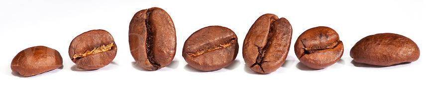 Row of coffee beans on white