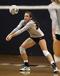 Nevada's Madison Foley (8) passes against Air Force during college volleyball action in Reno, Nev., on Thursday, Sept. 25, 2014. Air Force won 3-2.<br /> Photo by Cathleen Allison
