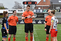 referee Simon Bourdeaud'Hui  with assistant referee Benjamin Dewyn (L) and Joachim Vercamer (R) pictured during the toss witj Ellen Martens (2) of Club Brugge and Pauline Windels (5) of Zulte-Waregem before the  female soccer game between SV Zulte - Waregem and Club Brugge YLA on the 13 th matchday of the 2020 - 2021 season of Belgian Scooore Womens Super League , saturday 6 th of February 2021  in Zulte , Belgium . PHOTO SPORTPIX.BE | SPP | DIRK VUYLSTEKE