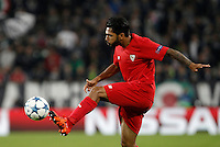 Calcio, Champions League: Gruppo D - Juventus vs Siviglia. Torino, Juventus Stadium, 30 settembre 2015. <br /> Sevilla's Benoit Tremoulinas controls the ball during the Group D Champions League football match between Juventus and Sevilla at Turin's Juventus Stadium, 30 September 2015. <br /> UPDATE IMAGES PRESS/Isabella Bonotto
