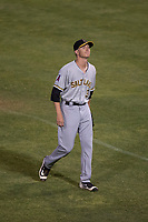 Salt Lake Bees starting pitcher Simon Mathews (3) walks off the field after throwing 4.2 innings of scoreless baseball during a Pacific Coast League game against the Fresno Grizzlies at Chukchansi Park on May 14, 2018 in Fresno, California. Fresno defeated Salt Lake 4-3. (Zachary Lucy/Four Seam Images)