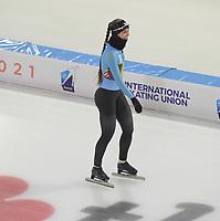 SCHAATSEN: HEERENVEEN: 13-01-2021, IJsstadion Thialf, ISU European Speed Skating Championships, training, Sandrine Tas, ©foto Martin de Jong