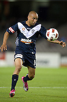 MELBOURNE, AUSTRALIA - NOVEMBER 06: Archie Thompson of the Victory controls the ball during the round 13 A-League match between the Melbourne Victory and Gold Coast United at Etihad Stadium on November 6, 2010 in Melbourne, Australia (Photo by Sydney Low / Asterisk Images)