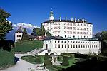 Austria, Tyrol, Innsbruck: Castle Ambras, museum, and Karwendel mountains   Oesterreich, Tirol, Innsbruck: Schloss Ambras, Kunsthistorisches Museum, vorm Karwendelgebirge - Nordkette