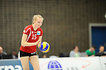 Rüsselsheim, Germany, April 13: Jennifer Geerties #15 of the Rote Raben Vilsbiburg prepares to serve during play off Game 1 in the best of three series in the semifinal of the DVL (Deutsche Volleyball-Bundesliga Damen) season 2013/2014 between the VC Wiesbaden and the Rote Raben Vilsbiburg on April 13, 2014 at Grosssporthalle in Rüsselsheim, Germany. Final score 0:3 (Photo by Dirk Markgraf / www.265-images.com) *** Local caption ***