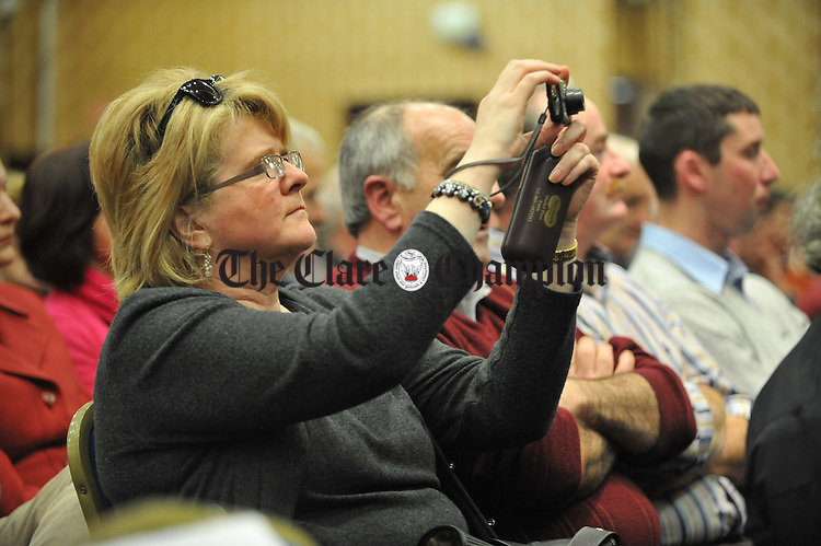 Adding to her collection of historic moments  at the Fianna Fail selection convention in the West County hotel, Ennis. Photograph by John Kelly.