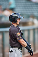 Bryce Johnson (48) of the Sacramento River Cats during the game against the Salt Lake Bees at Smith's Ballpark on August 16, 2021 in Salt Lake City, Utah. The Bees defeated the River Cats 6-0. (Stephen Smith/Four Seam Images)