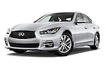 Low aggressive front three quarter view of a 2014 Infiniti Q50 Sedan