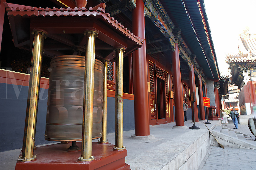 Prayer wheel outside a temple in the Yonghe Lamasery, Beijing, China, Asia