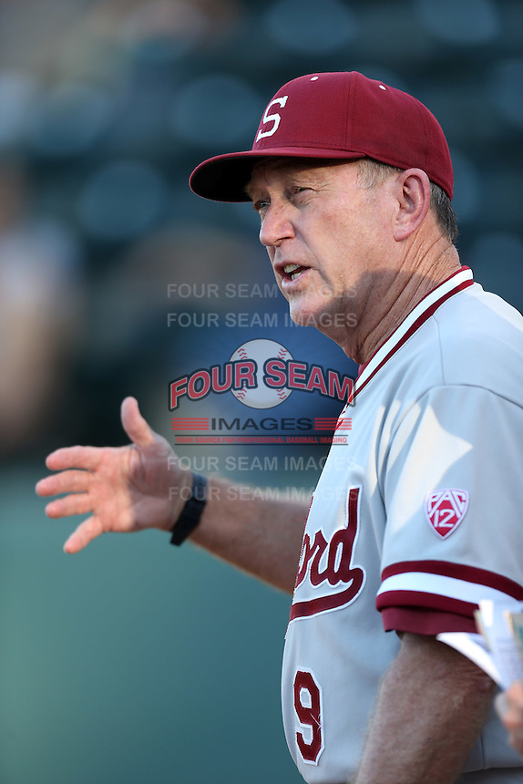 Stanford Cardinal Head Coach Mark Marquess #9 before a game against the UCLA Bruins at Jackie Robinson Stadium on May 2, 2014 in Los Angeles, California. UCLA defeated Stanford, 7-2. (Larry Goren/Four Seam Images)