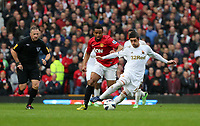 Pictured: (L-R) Oliveira Anderson, Pablo Hernandez.<br /> Sunday 12 May 2013<br /> Re: Barclay's Premier League, Manchester City FC v Swansea City FC at the Old Trafford Stadium, Manchester.