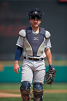Columbus Clippers catcher Adam Moore (25) during a game against the Rochester Red Wings on August 9, 2017 at Frontier Field in Rochester, New York.  Rochester defeated Columbus 12-3.  (Mike Janes/Four Seam Images)