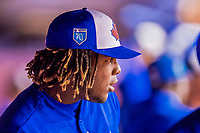 26 March 2018: Toronto Blue Jays third baseman Vladimir Guerrero Jr. watches play from the dugout during a pre-season exhibition game against the St. Louis Cardinals at Olympic Stadium in Montreal, Quebec, Canada. The Cardinals defeated the Blue Jays 5-3 in the first of two MLB Grapefruit League games, in which Guerrero Jr. made his first appearance since childhood at the former home on the Montreal Expos. Mandatory Credit: Ed Wolfstein Photo *** RAW (NEF) Image File Available ***