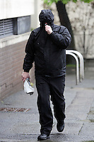 Pictured: Robert Riley arriving at Swansea Magistrates Court. Thursday 08 May 2014<br />