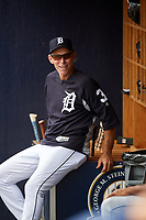 Lakeland Flying Tigers Alan Trammell in the dugout during a game against the Tampa Tarpons on April 8, 2018 at George M. Steinbrenner Field in Tampa, Florida.  Lakeland defeated Tampa 3-1.  (Mike Janes/Four Seam Images)