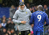 Chelsea's Romelu Lukaku and Chelsea Manager, Thomas Tuchel, share a joke at the final whistle during Chelsea vs Southampton, Premier League Football at Stamford Bridge on 2nd October 2021