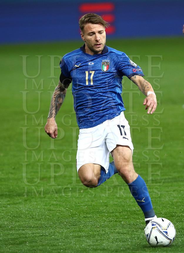 Footbal Soccer: FIFA World Cup Qatar 2022 Qualification, Italy - Northern Ireland, Ennio Tardini stadium, Parma, March 26, 2021.<br /> Italy's Ciro Immobile in action during the FIFA World Cup Qatar 2022 qualification, football match between Italy and Northern Ireland, at Ennio Tardini stadium in Parma on March 26, 2021.<br /> UPDATE IMAGES PRESS/Isabella Bonotto