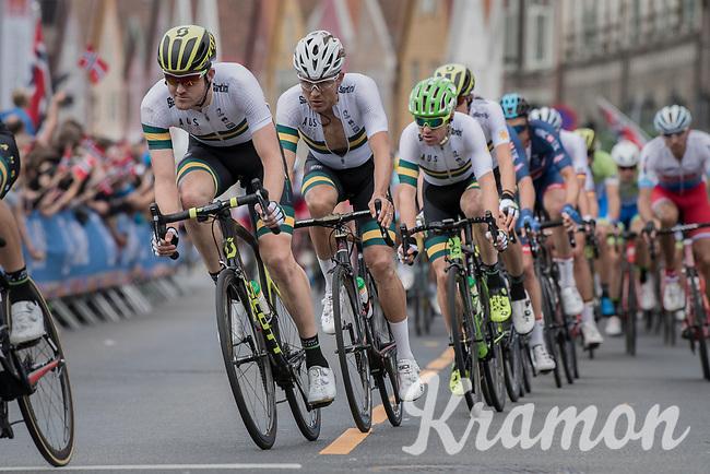 Team Australia racing in Bergen city center<br /> <br /> Men Elite Road Race<br /> <br /> UCI 2017 Road World Championships - Bergen/Norway