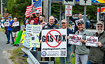 THOMASTON, CT 050821JS01—More than two dozen citizens came out for a rally against the Democrats' proposed $200 million tax hike on gas and mileage Saturday at the Village Service Center in Thomaston. <br /> Jim Shannon Republican American