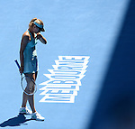 Maria Sharapova (RUS) defeats Alize Cornet (FRA) at the Australian Open in Melbourne, Australia on January 2014.  Sharapova won, 6-1, 7-6.