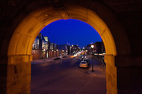 Looking through the Lafayette College Arch on 3rd street the Williams Visual Arts Building can be seen on the left..4094.Night .Arch.Scenic.Third St.