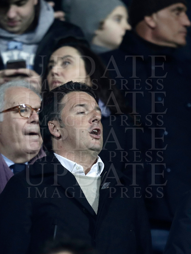 Calcio, Serie A: Fiorentina - Inter, stadio Artemio Franchi Firenze 5 gennaio 2018.<br /> Democratic Party (PD) leader and Italy's former premier Matteo Renzi waits for the start of the Italian Serie A football match between Fiorentina and Inter Milan at Florence's Artemio Franchi stadium, January 5 2018.<br /> UPDATE IMAGES PRESS/Isabella Bonotto
