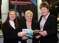 from leftto right: Beth Swindlehurst Galgorm Resort, Mary O Neill and Ann Donaghy Ramada Hotel at the Northern Ireland Stand..The Holiday World Show RDS Simmonscourt which runs from Friday 25th- Sunday 27th Jan..Celebrating its 24th year the show will attract 50,000 people  over the course of the three days. Expos from all over the world including Cuba, Abu Dhabi and real life eagles can all been seen. .Collins Photos 25/1/13